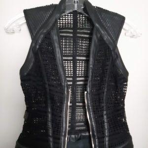 """Bebe """"Mia"""" Faux Leather & Mesh Vest"""